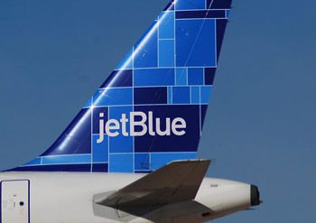 Tail of Jetblue airplane