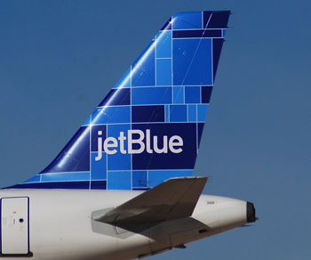 Tail of Jetblue airplane