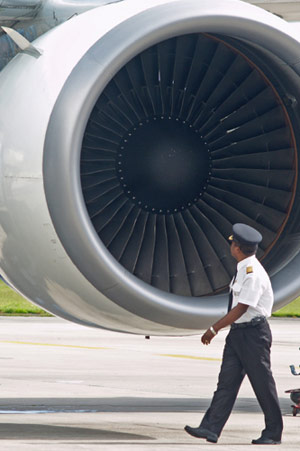 Airline Pilot Inspecting Airplane