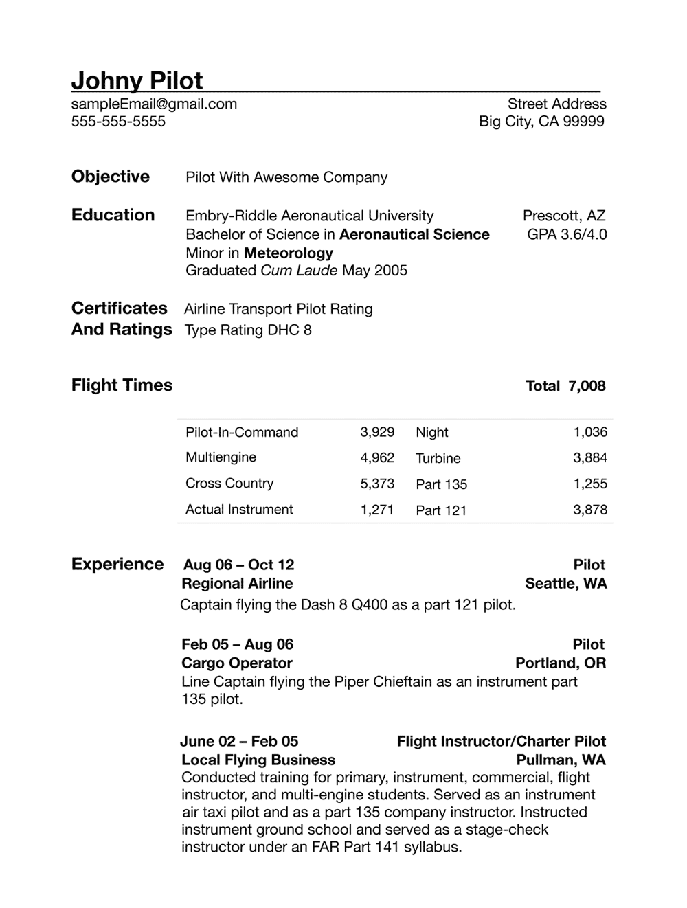 Sample Pilot Resume