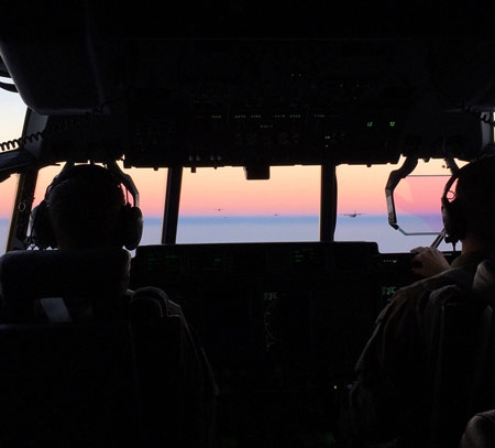 Sunset out Cockpit Windows