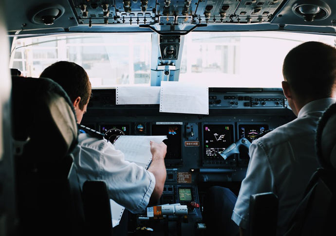 Pilots in Cockpit